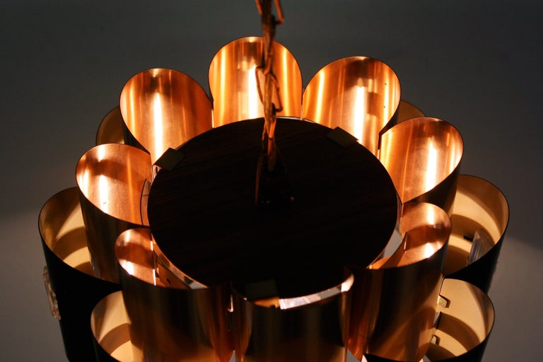 Vintage Copper Pendant Light by Werner Schou, 1960s For Sale 3