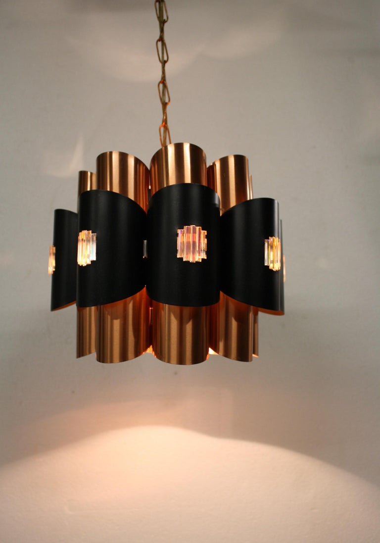 Vintage Copper Pendant Light by Werner Schou, 1960s For Sale 8