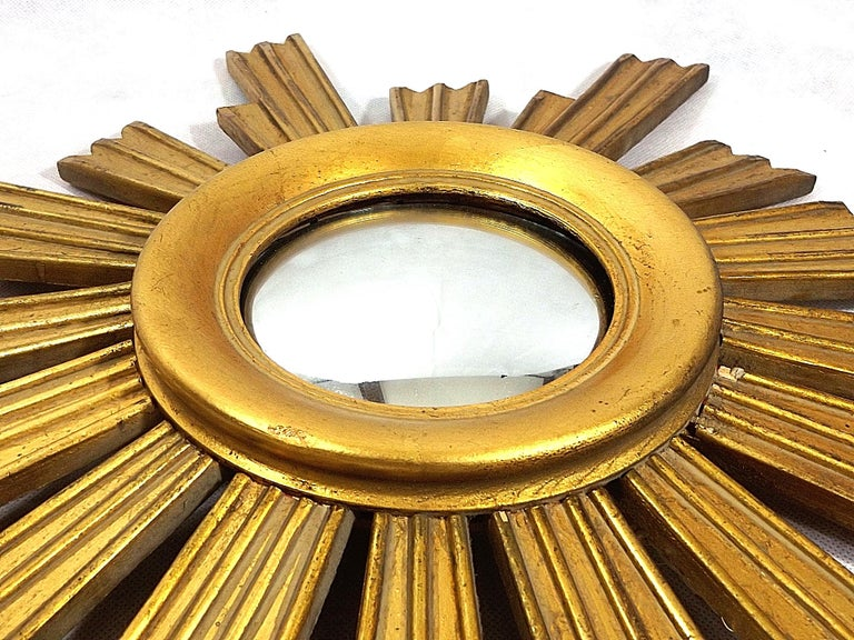 Vintage Wooden Sunburst Convex Mirror, 1950s For Sale 1