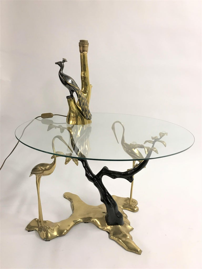 Bronze coffee table by Willy Daro depicting a bonzai tree and two crane birds.