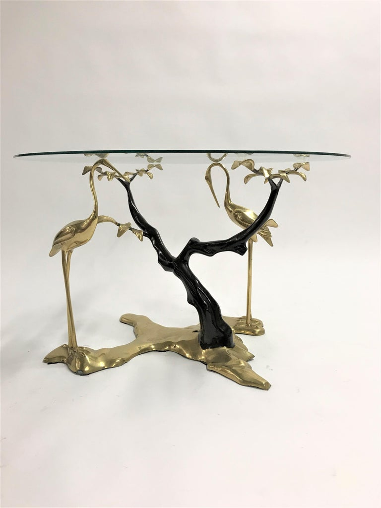 Bronze Crane Bird Coffee Table by Willy Daro, 1970s For Sale 4
