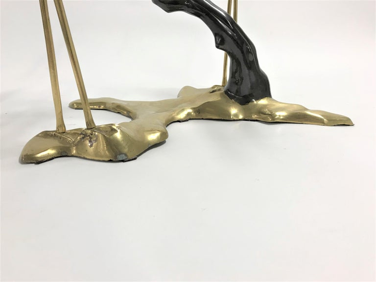Late 20th Century Bronze Crane Bird Coffee Table by Willy Daro, 1970s For Sale