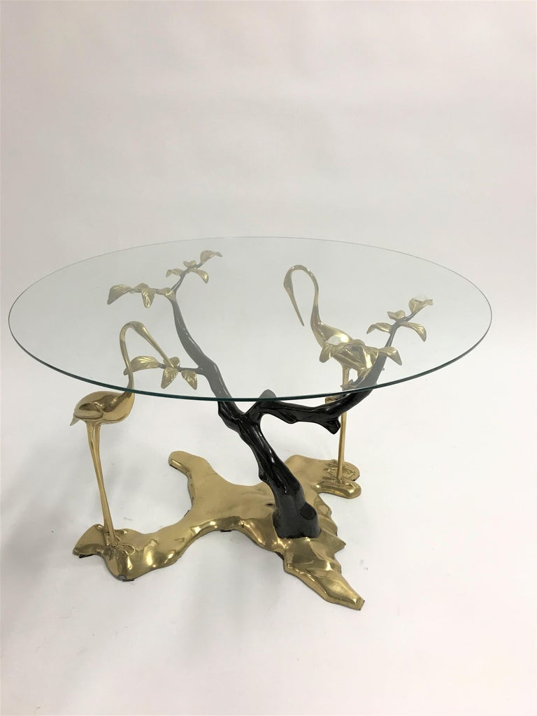 Bronze Crane Bird Coffee Table by Willy Daro, 1970s For Sale 5