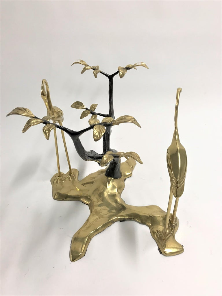 Bronze Crane Bird Coffee Table by Willy Daro, 1970s For Sale 1