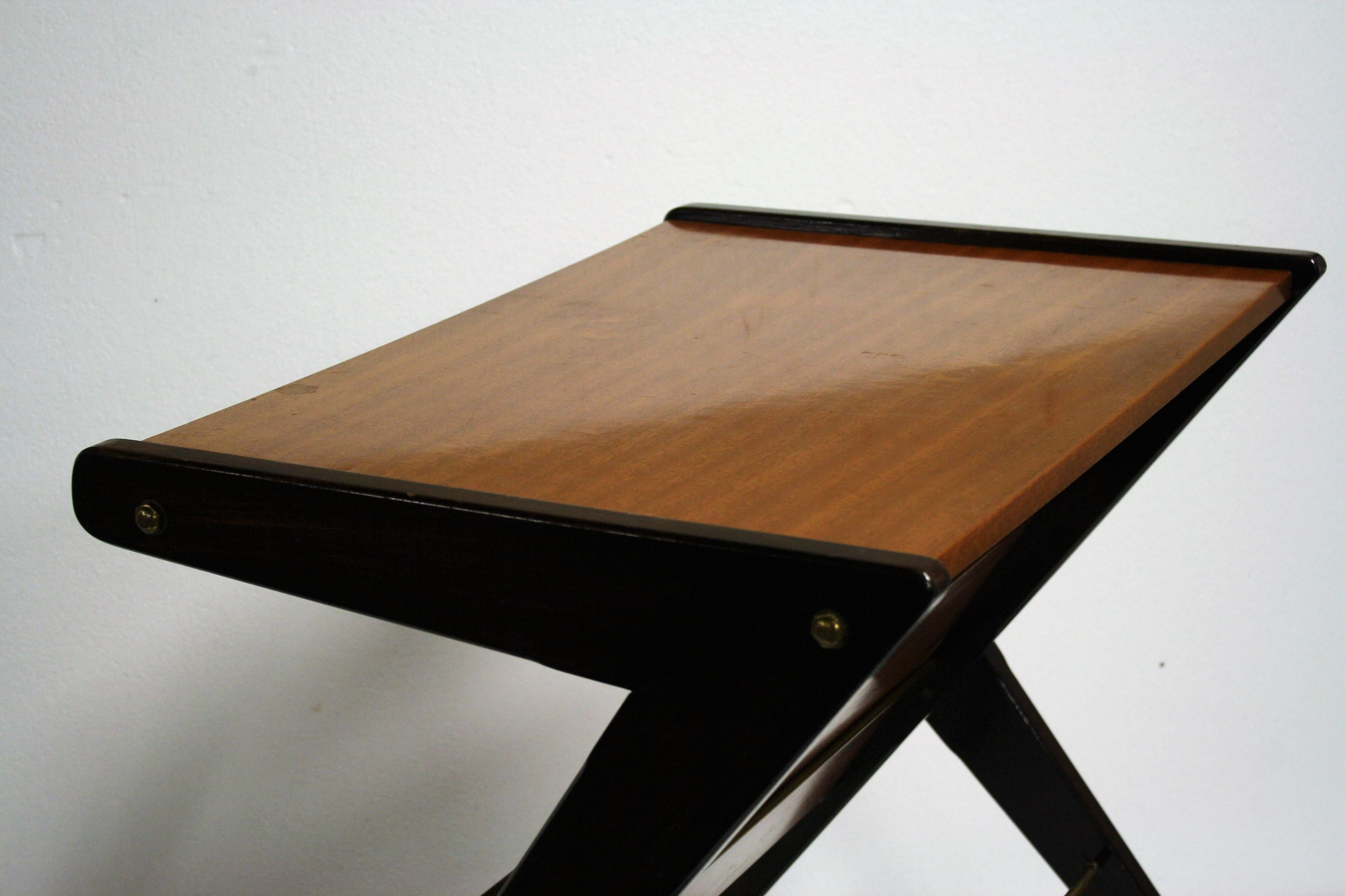 Teak Wooden Side Table On Wheels. This U0027Zu0027 Shaped Table Is A