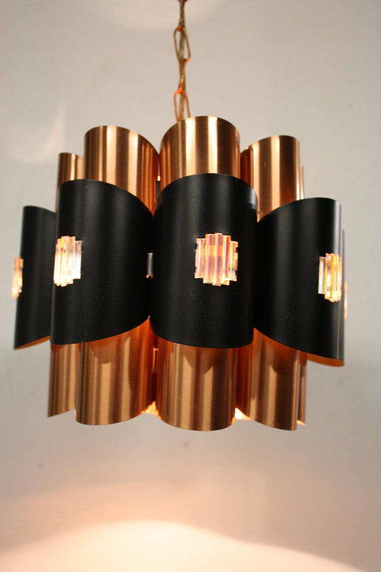 Vintage Copper Pendant Light by Werner Schou, 1960s For Sale 9
