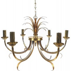 Midcentury Brass and Chrome Maison Jansen Pineapple Chandelier