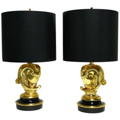 Pair of Hollywood Regency Brass Horse Head Table Lamps, 1970s, Belgium