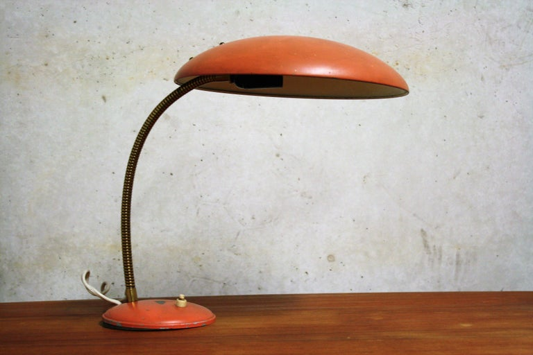 Orange midcentury Bauhaus table lamp 