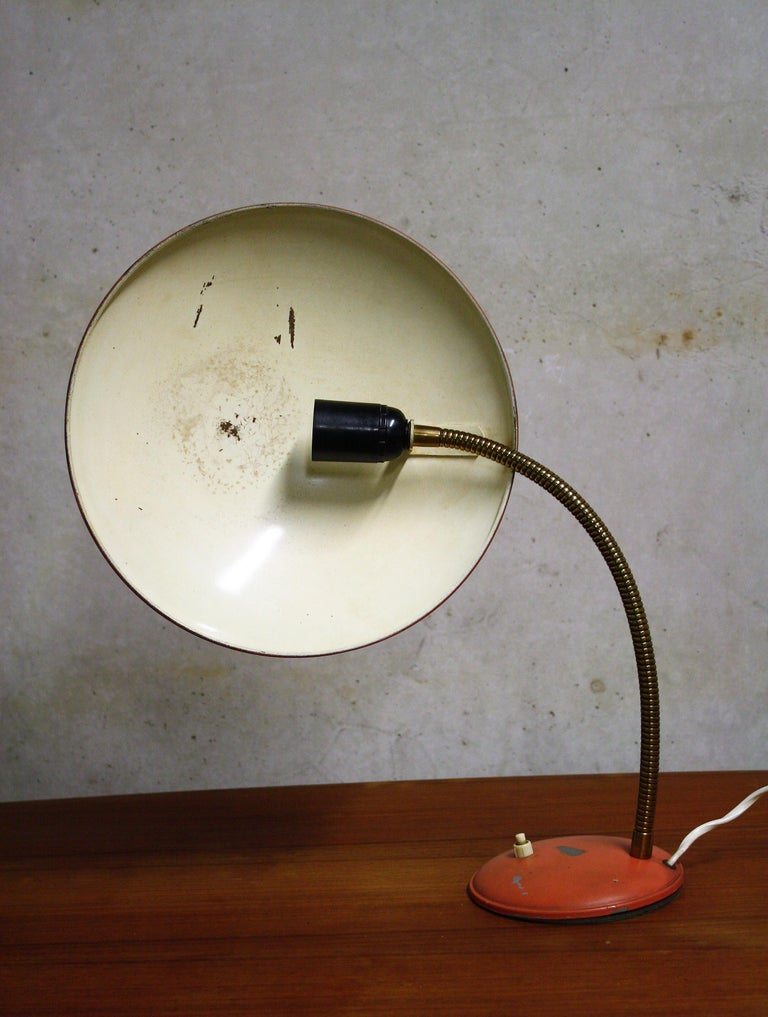 Space Age Orange Midcentury Table Lamp by Philips, 1960s For Sale
