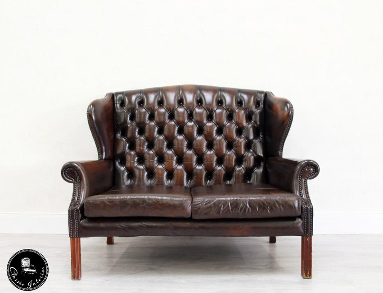 Chesterfield Chippendale Vintage English Sofa Leather Armchair Antique In Good Condition For Lage