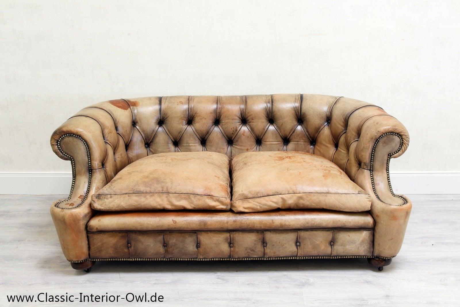 Erstaunlich Alte Ledercouch Dekoration Von Chesterfield Garnitur Antik Sofa Club Leder Couch