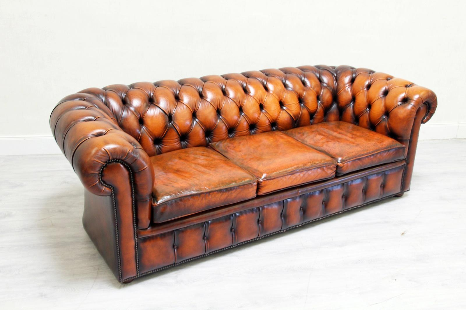 Chesterfield Sofa Leder Antik Vintage Couch English Chippendale For Sale 3 Amazing Pictures