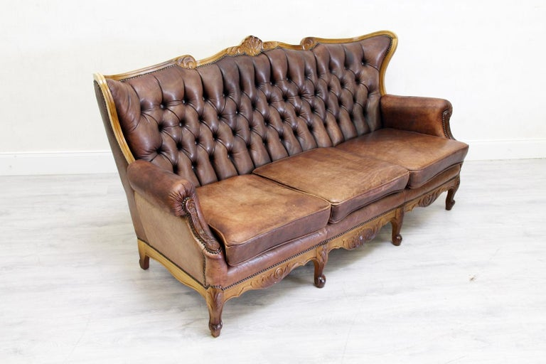 chesterfield garnitur antik sofa sessel leder couch 3 1 1 vintage for sale at 1stdibs. Black Bedroom Furniture Sets. Home Design Ideas