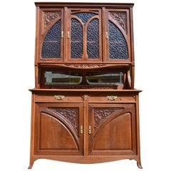 Art Nouveau Buffet in Carved Chestnut Wood by Edouard Diot, circa 1900