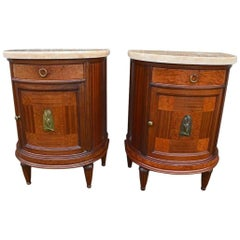 Pair of French Art Deco Mahogany Bedside Tables Nightstands, 1920s