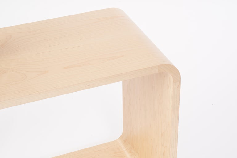 Base: All-natural hand-stained Canadian maple or walnut wood veneer contoured base. Brake formed cold-rolled steel ball bearing turn-table storage compartment.  Custom eco-friendly matted powder-coat finish.  Post &