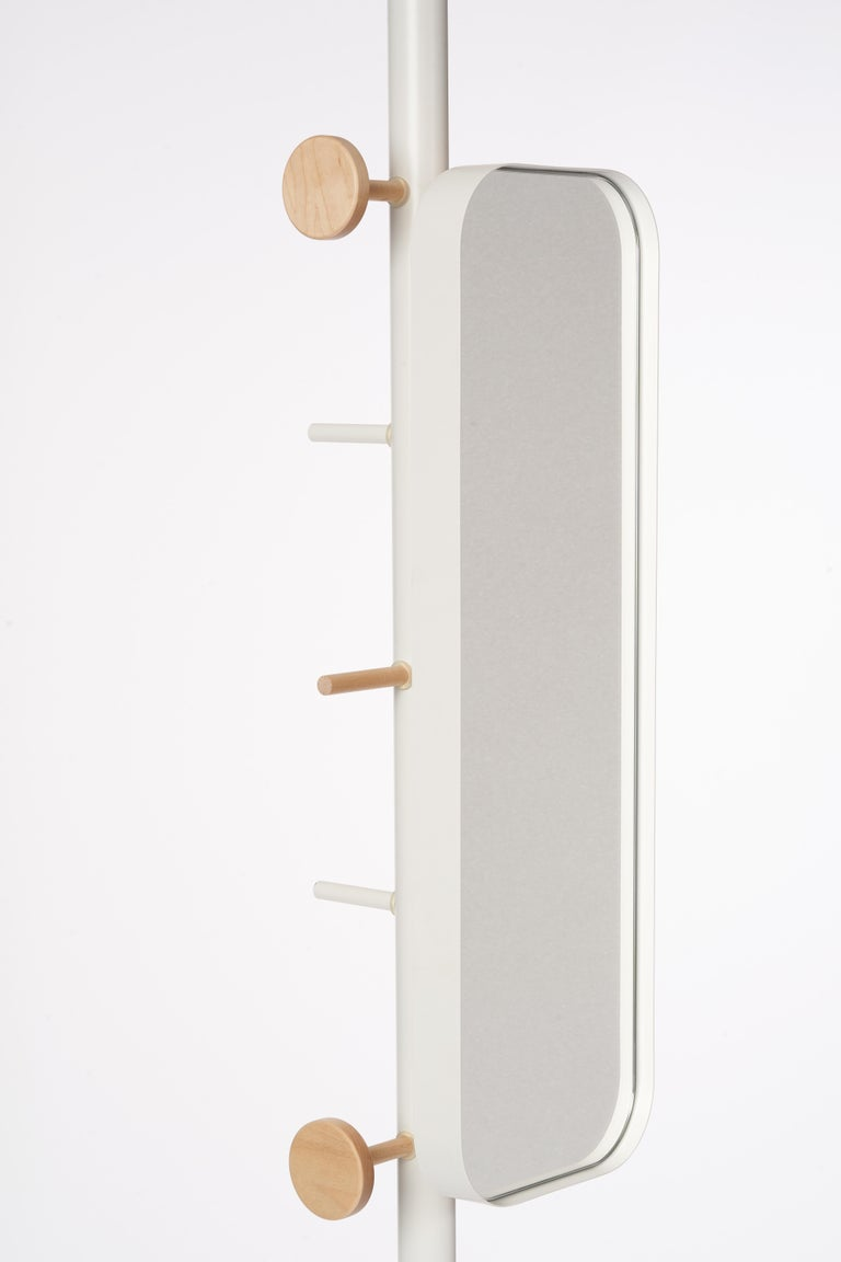 Lacquered Garcia Multi-Functional Coat Rack and Side Table with Storage For Sale