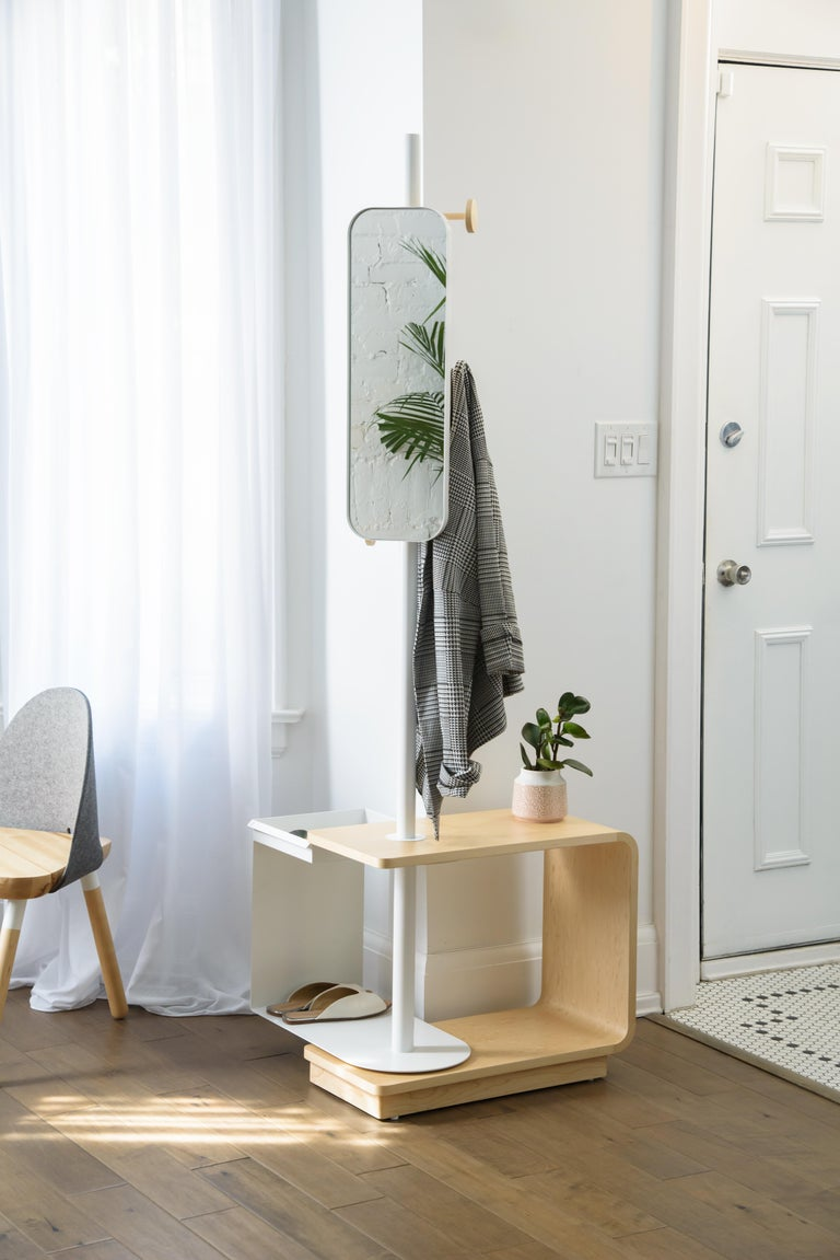Contemporary Garcia Multi-Functional Coat Rack and Side Table with Storage For Sale