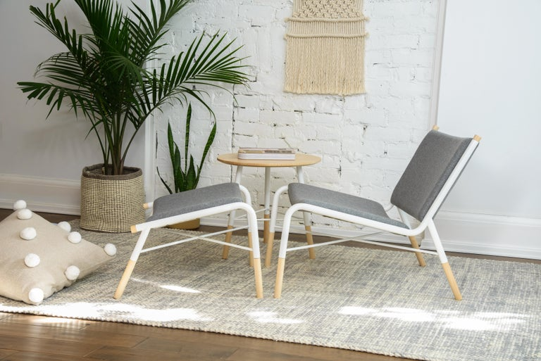 Contemporary 49N Lounge Chair, Melton Wool and Eco-Friendly Powder Coated Steel Frame For Sale