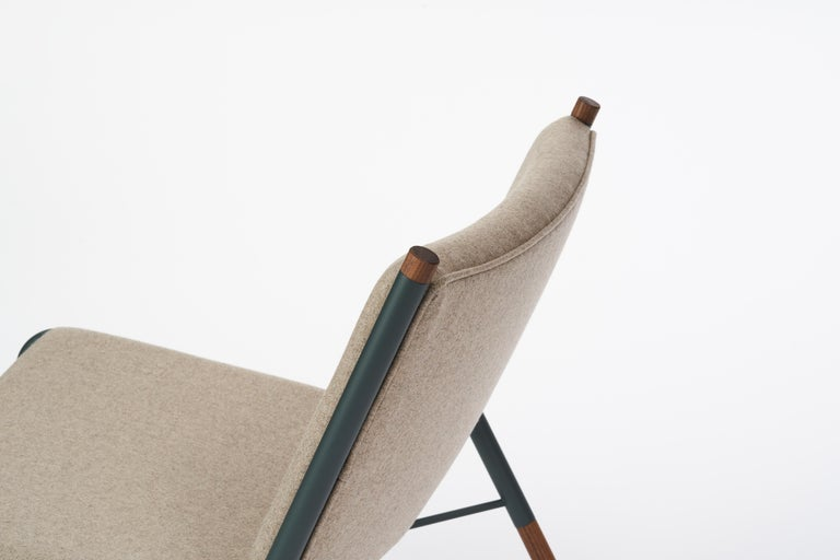 Canadian 49N Lounge Chair, Melton Wool and Eco-Friendly Powder Coated Steel Frame For Sale