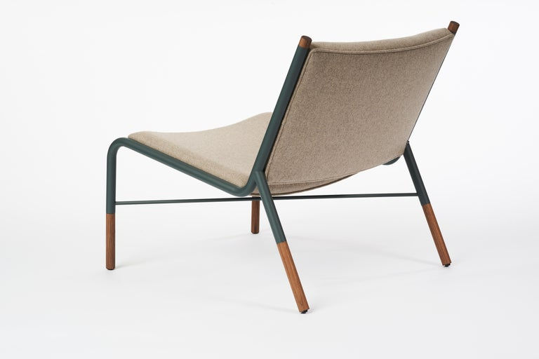 Scandinavian Modern 49N Lounge Chair, Melton Wool and Eco-Friendly Powder Coated Steel Frame For Sale