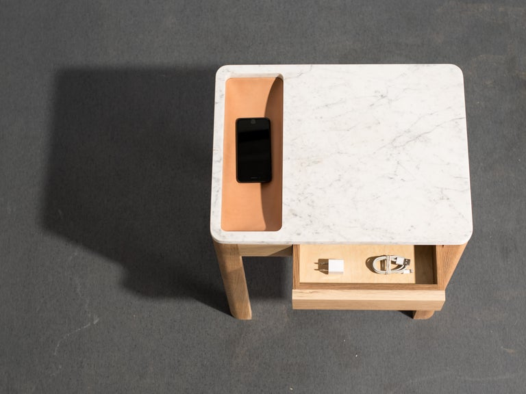 Minimalist Contemporary Void Side Table in White Oak, Carrara Marble, and Leather by Harold For Sale