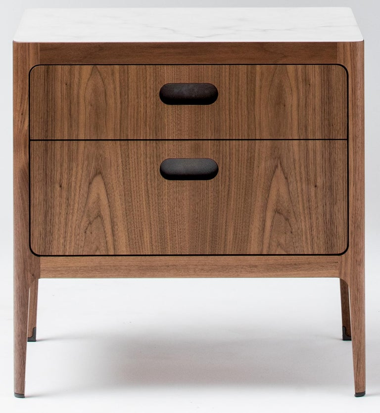 Mid-Century Modern Radius Two-Drawer Side Table or Nightstand in Walnut with Alabaster Resin Top For Sale