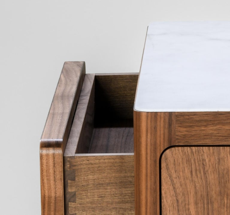 Radius Two-Drawer Side Table or Nightstand in Walnut with Alabaster Resin Top In New Condition For Sale In Oakland, CA