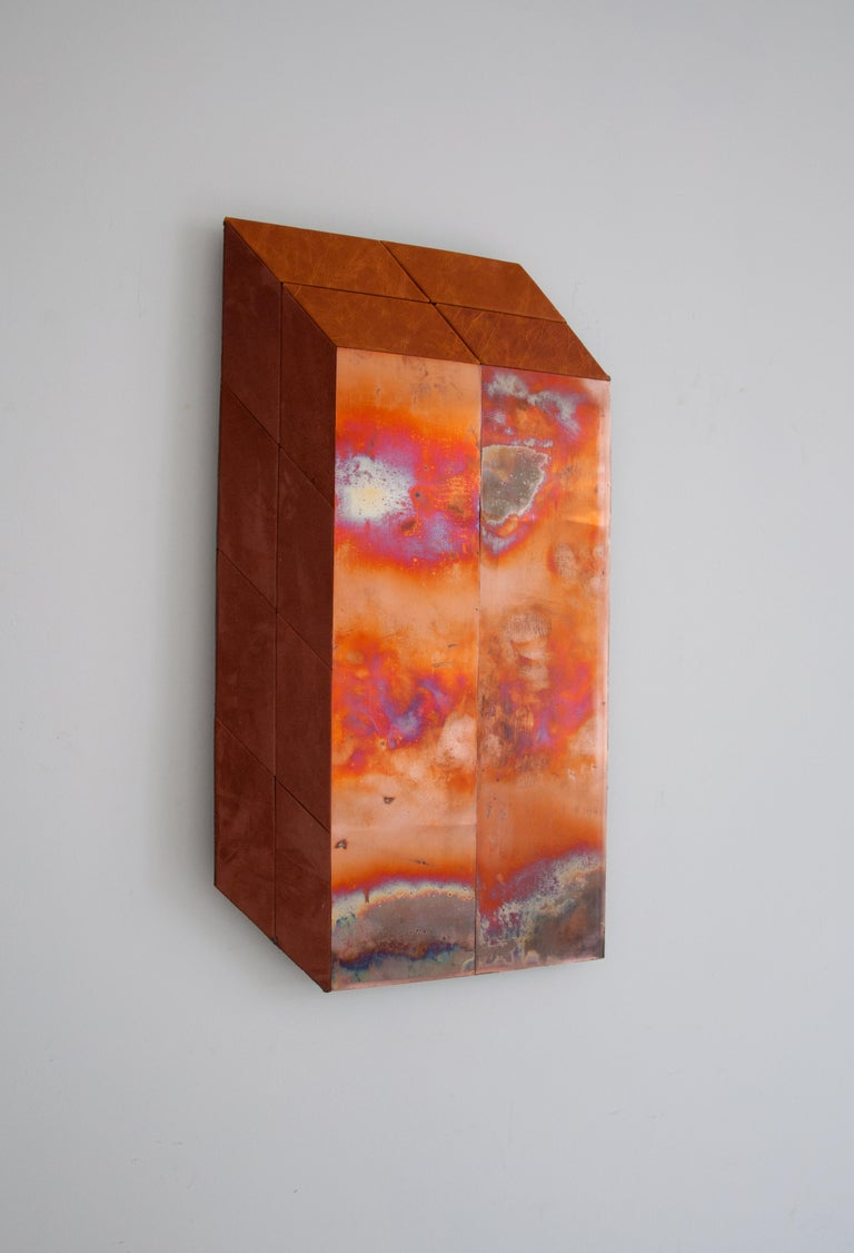 Contemporary Sculptural Piece Miriam Loellmann [German, b. 1985] The Summer Piece, 2018 Copper, leather Measures: 66 x 38 x 3 cm / 26 x 15 x 1.18 inches Weight: 4kg One-of-a-kind piece, signed on the back  A two-dimensional contemporary piece using