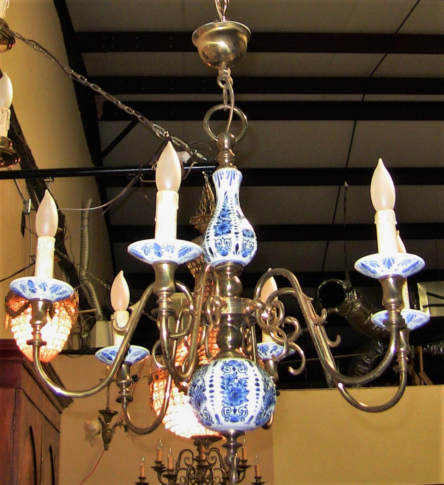 19th Century Dutch Br With Blue And White Delft Pottery Chandelier For At 1stdibs