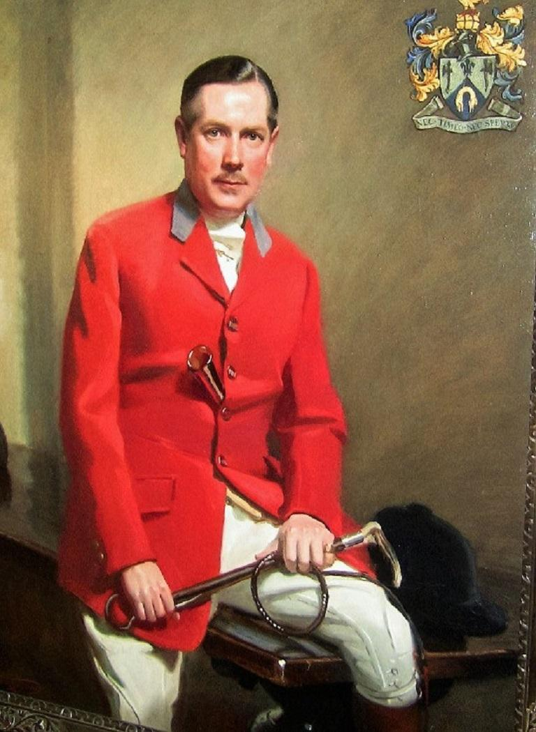 Stunning quality and highly importantpiece of British Art.  British oil on canvas Portrait of a Fox Huntsman by Frank Owen Salisbury (AKA The Painter Laureate) dated 1940/41. With the assistance of the College of Coat of Arms in London, we have