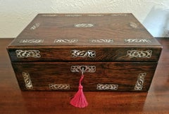 19C British Rosewood and MOP Inlaid Dressing Table Box