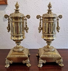 Pair of 19C French Neoclassical Style Brass Garnitures