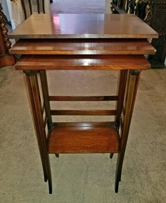 Early 20C British Mahogany and Inlaid Nest of Tables