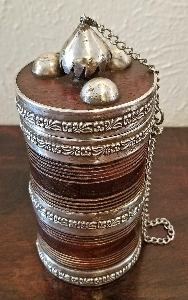 19th Century Anglo-Indian Spice or Tea Caddy with Silver Mounts For Sale 1