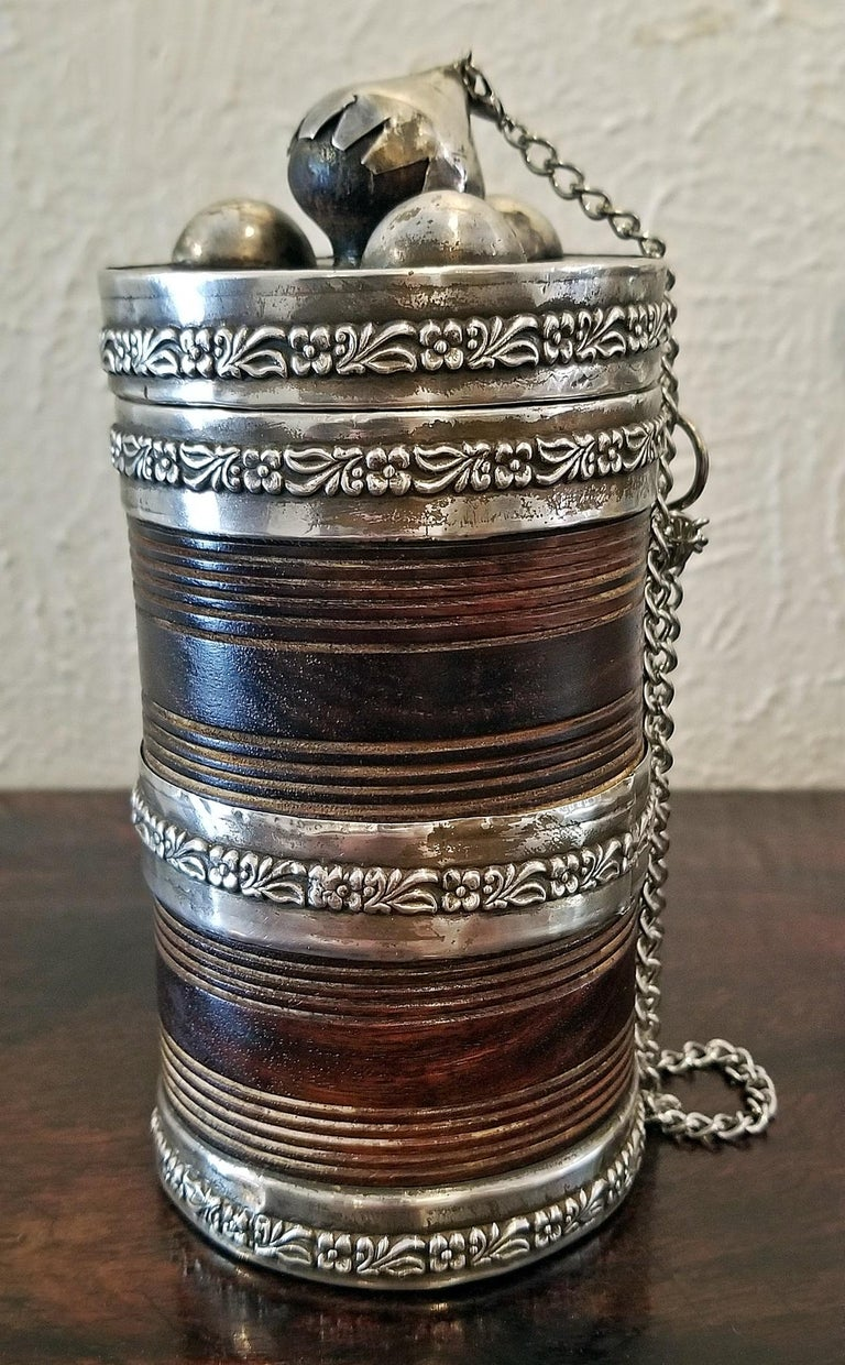 19th Century Anglo-Indian Spice or Tea Caddy with Silver Mounts For Sale 2