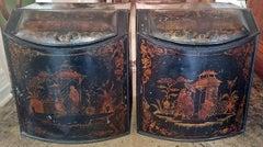 Pair of 19c American Henry Troemner Philadephia Pa Chinoiserie Tea Bins