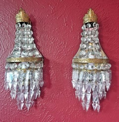 Pair of 19c French Crystal Louis XVI Style Wall Lights