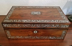 19C British Rosewood Campaign Writing Slope with MOP Inlay