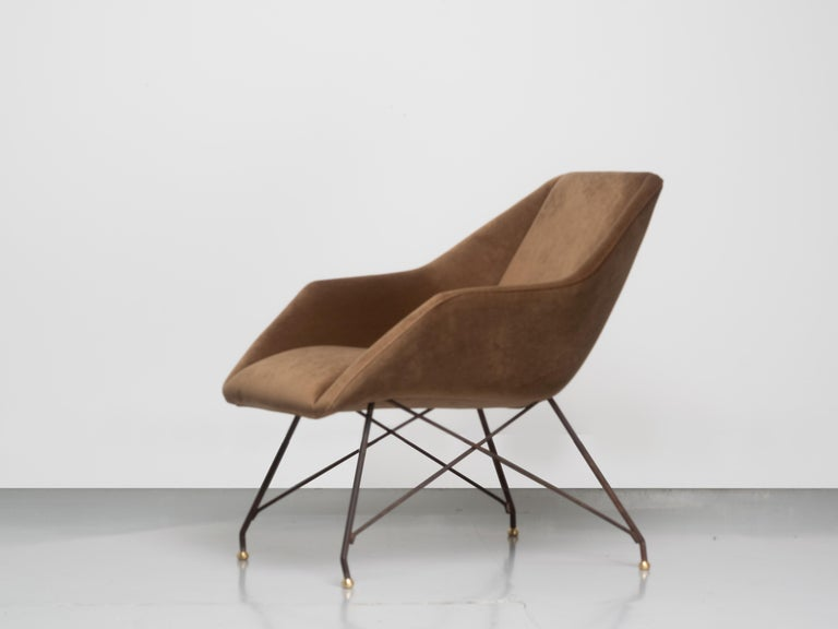 Carlo Hauner and Martin Eisler, armchair, iron, brass, velvet, Brazil, 1955.   The Shell or