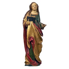 South German Probably Swabian Late Gothic Polychrome Sculpture of Saint Anna
