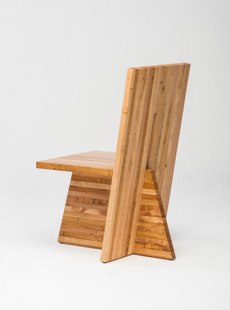 Brazilian Small Planos Chair in Solid African Mahogany Wood by Juliana Lima Vasconcellos For Sale