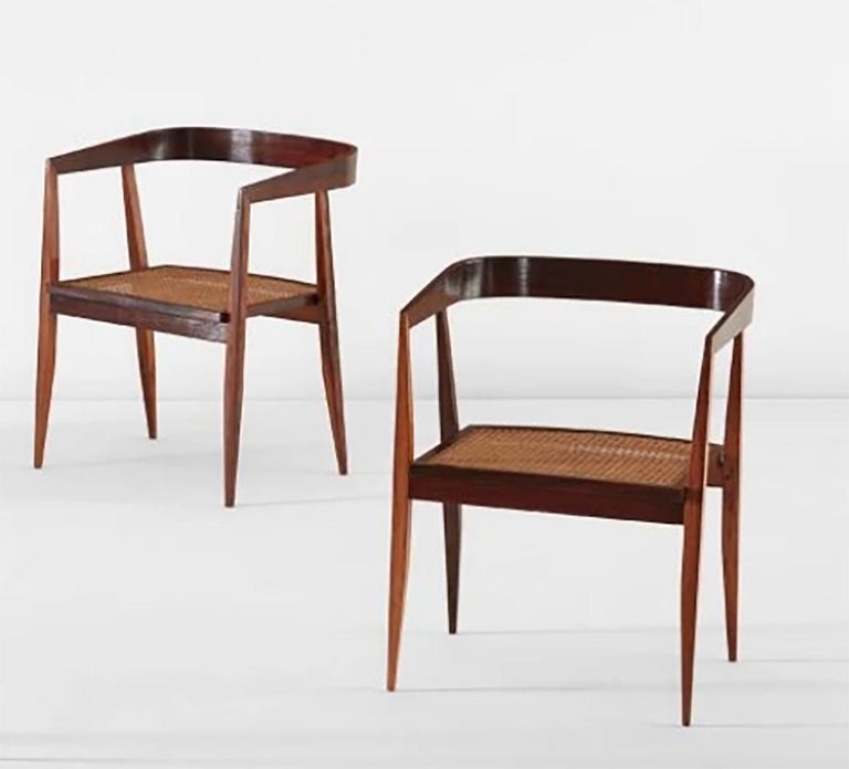 Mid-Century Modern 1960s Joaquim Tenreiro Brazilian Dining Chairs in Rosewood Set of Nine  For Sale