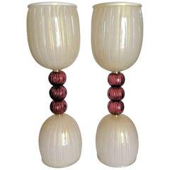 Pair of Mid-Century Modern Murano Glass Lamps, Barovier Style, circa 1960s