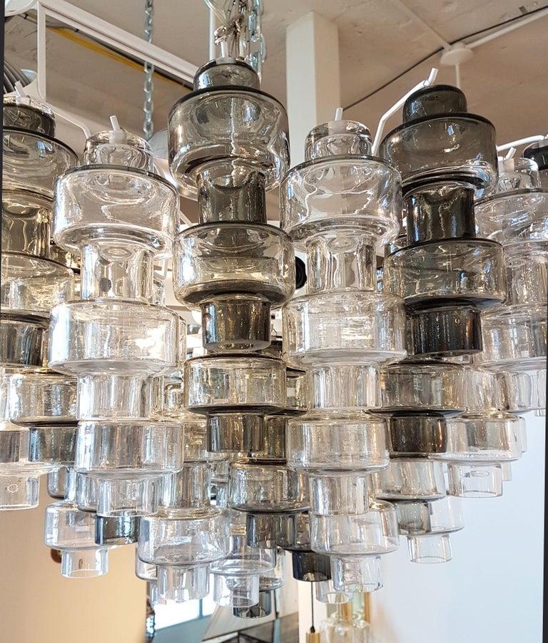 Murano Glass Murano Smoke/Clear glass Mid-Century Modern Seguso Chandelier/Flush Mount, 1970s For Sale