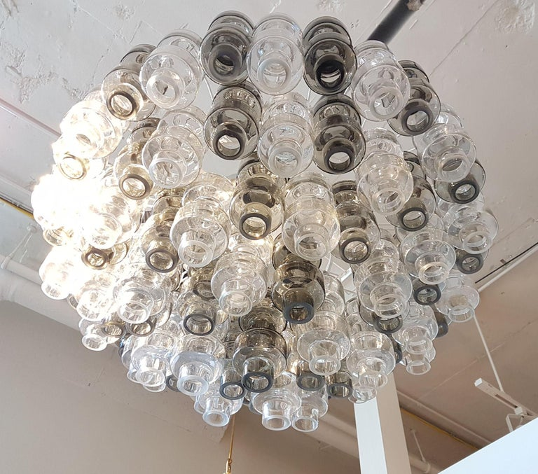 Large clear beige and smoked Murano glass Barbell chandelier or flush mount. Mid-century modern. By Seguso Italy. 1970s. Barbell is a geometric glass created by Seguso. Chain & canopy in chrome (newly added) 20 in. high, frame painted antique