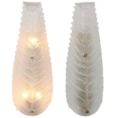 Pair of Mid-Century Modern Murano Textured Clear Glass Leaf Sconces, 1970s