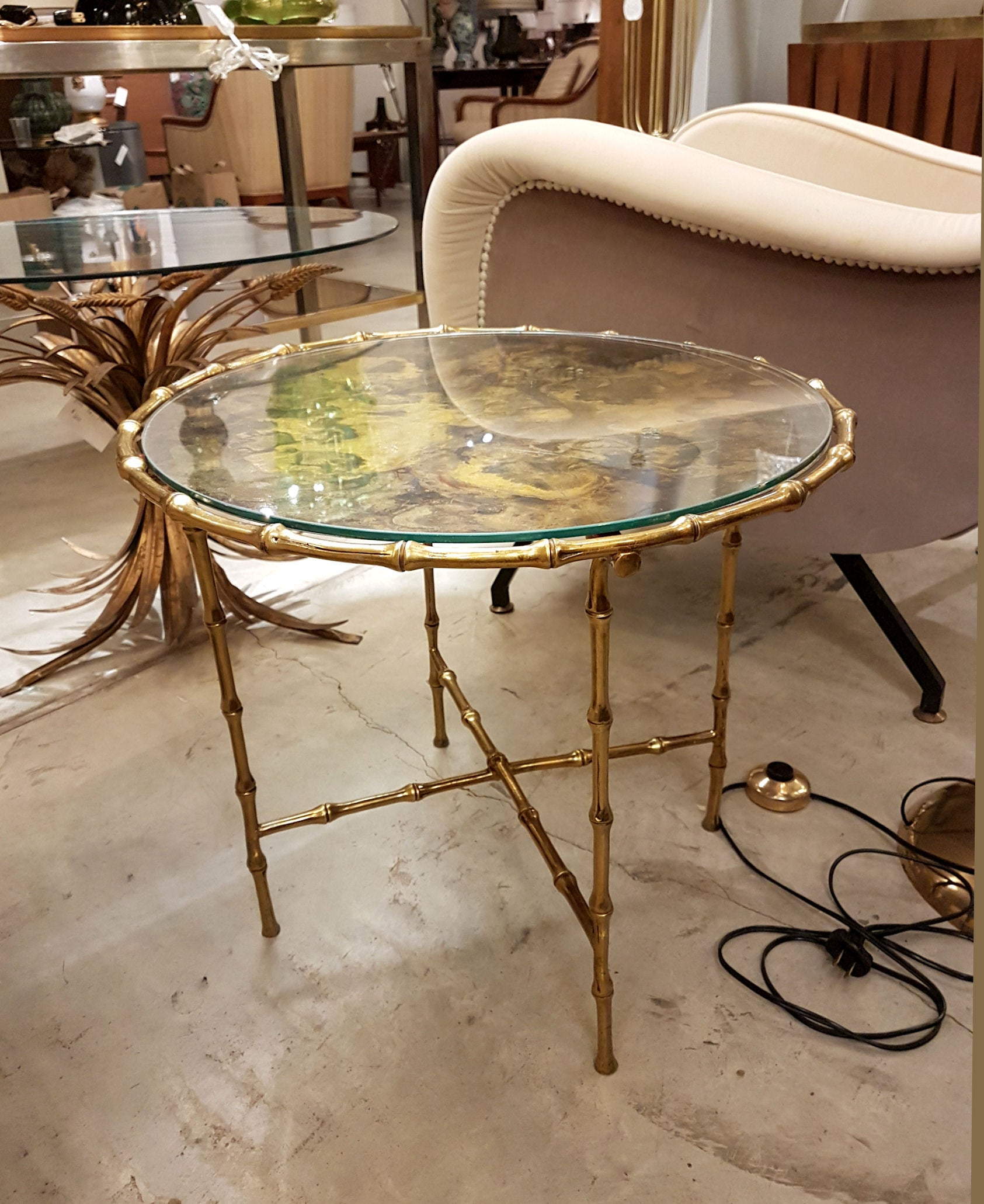 - Mid-Century Modern Brass Faux Bamboo Side/Coffee Table, Maison