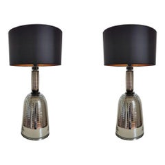 Pair of Large Mid-Century Modern Silver Mirrored Murano Glass Lamps, 1980s